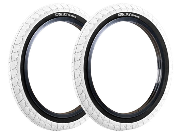 "SUNDAY CURRENT V2 BMX TIRE 2.4"" White / Black wall [2개 패키지]"
