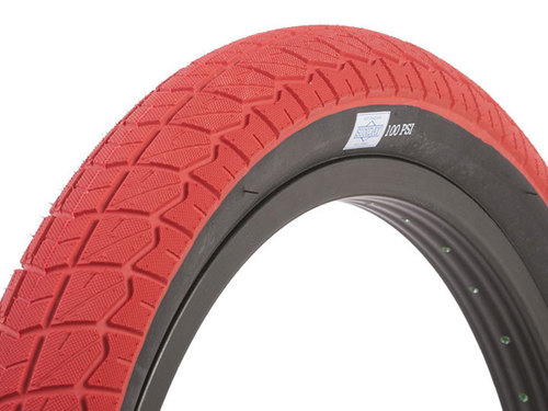 "CURRENT BMX TIRE 2.4"" RED + Black wall"