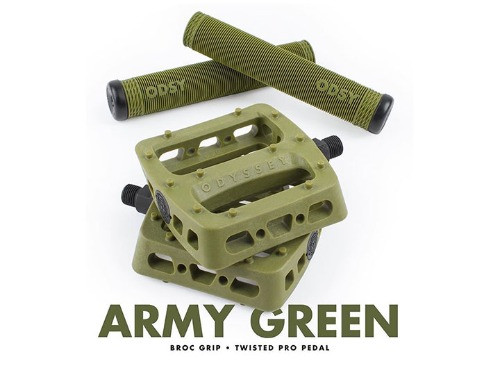 ODYSSEY TWISTED PRO PEDALS + BROC RAIFORD GRIP -Army Green- 패키지