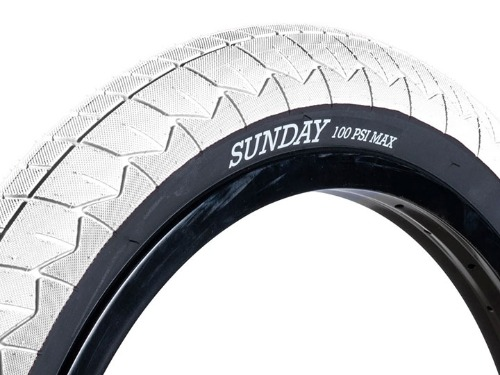 "SUNDAY CURRENT V2 BMX TIRE 2.4"" White/Black wall"