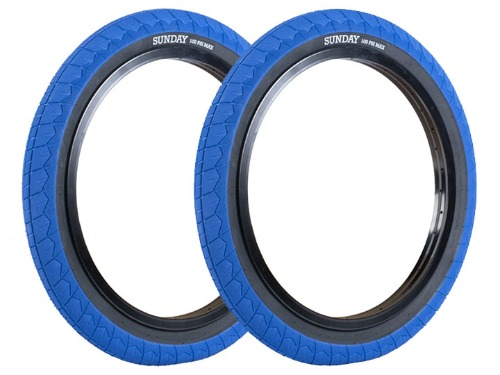 "SUNDAY CURRENT V2 BMX TIRE 2.4"" [DUAL-PLY] Blue w/Black wall [2개 패키지]"