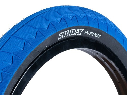 "SUNDAY CURRENT V2 BMX TIRE 2.4"" [DUAL-PLY] Blue w/Black wall"
