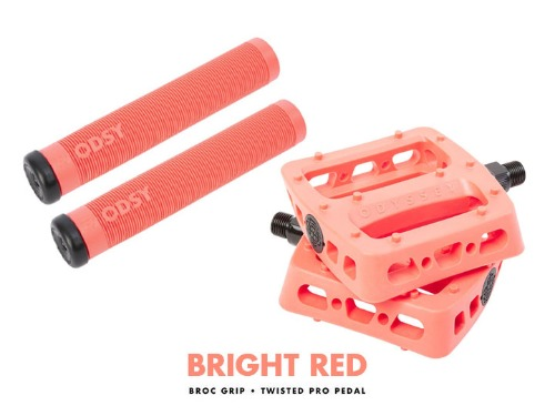 ODYSSEY TWISTED PRO PEDALS + BROC GRIPS -Bright Red- 패키지
